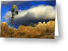 Windmill At The Organ Mountains New Mexico Greeting Card by Bob Christopher