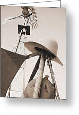 Windmill Canteen And Cowboy Hat 4 Greeting Card