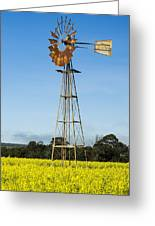 Windmill In A Canola Field Greeting Card