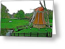 Windmill In A Park In Enkhuizen-netherlands Greeting Card