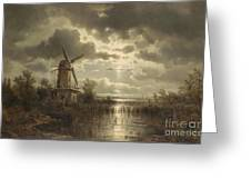 Windmill In The Moonlight Greeting Card