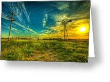 Windmill Sunset Greeting Card by  Caleb McGinn