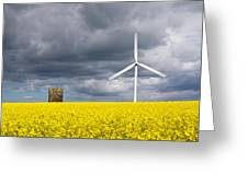 Windmill With Motion Blur In Rapeseed Field Greeting Card