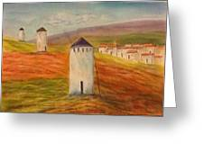 Windmills In Holland Greeting Card by Nora Vega