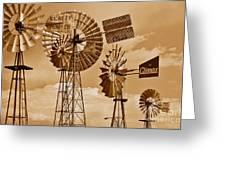 Windmills In Sepia Greeting Card