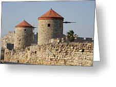 Windmills Of Rhodos - Port Of The Myloi Greeting Card