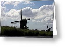 Windmills Silhouette Greeting Card