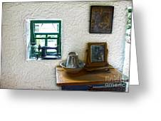 Window And Little Dressing Table In An Old Thatched Cottage Greeting Card
