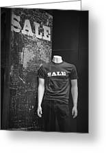 Window Display Sale In Black And White Photograph With Mannequin No.0129 Greeting Card