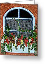 Window Flower Box On A Stucco Wall Greeting Card