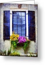 Window Flower Box View Greeting Card by Janine Riley