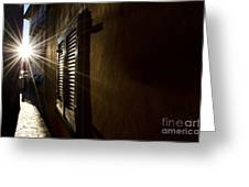 Window In An Alley With Sunlight Greeting Card