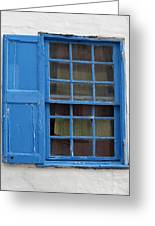 window in blue - British style window in a mediterranean blue Greeting Card