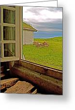 Window On Sod-covered Roof In Louisbourg Living History Museum-1744-ns Greeting Card