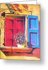 Window On The Rue In Roussillon France Greeting Card
