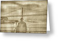 window self-portrait Embarcadero San Francisco Greeting Card