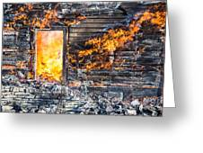 Window Thru The Depth Of Firey Fury Greeting Card