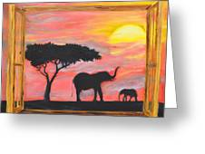 Window To African Sunrise With Elephants Into The Sun. Greeting Card