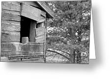 Window To Nowhere - Black And White Greeting Card