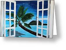 Window To Paradise Beach Greeting Card