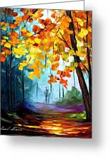 Window To The Fall - Palette Knife Oil Painting On Canvas By Leonid Afremov Greeting Card