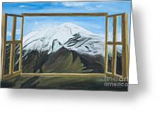 Window To The Popocatepetl A Mexican Volcano. Greeting Card