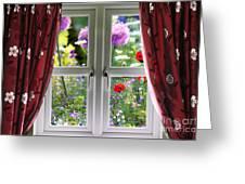 Window View Onto Wild Summer Garden Greeting Card