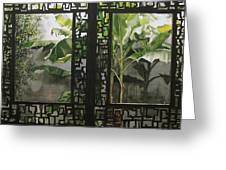 Window With Bamboo And Banana Plant Greeting Card