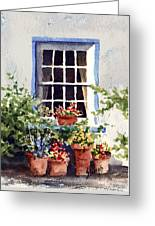 Window With Blue Trim Greeting Card