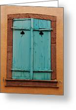Window With Turqouise Shutters In Colmar France Greeting Card