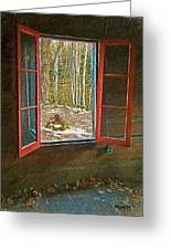 Window With View Abandoned Elkmont Log Cabin Autumn Greeting Card