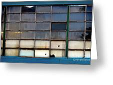 Windows In Blue Building 2 Greeting Card