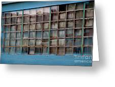 Windows In Blue Building 3 Greeting Card