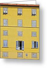 Windows Of Florence Against A Faded Yellow Plaster Wall Greeting Card