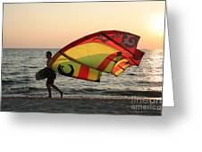 Windsurfer At Sunset Greeting Card