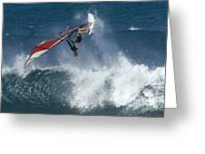 Windsurfer Hanging In Greeting Card