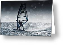 Windsurfing With Water Drops On Camera Greeting Card