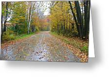 Windy And Rainy Fall Day Greeting Card