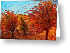 Windy Autumn Day Greeting Card