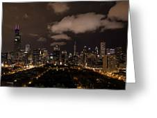 Windy City At Night Greeting Card