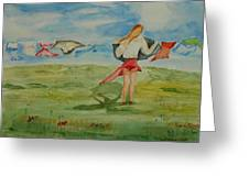 Windy Day Funny Watercolor Greeting Card
