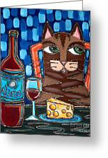 Wine And Cheese Cat Greeting Card