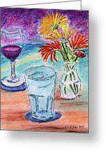 Wine And Flowers 2 Greeting Card by William Killen