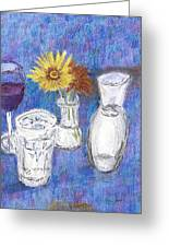 Wine And Flowers Greeting Card by William Killen