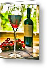 Wine And Grapes In The Window Greeting Card
