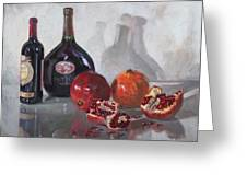 Wine And Pomegranates Greeting Card