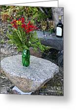 Wine And Red Flowers On The Rocks Greeting Card