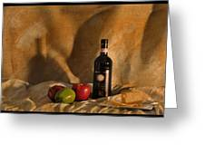 Wine Apples And Cheese Greeting Card