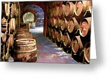 Wine Barrels In The Wine Cellar Greeting Card by Elaine Plesser