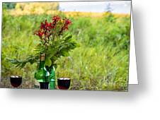 Wine Bottle And Two Glasses Greeting Card